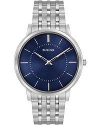 Bulova Men's Dress Stainless Steel Bracelet Watch 40mm 96a188 - Metallic