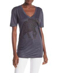 Go Couture Slub V-neck Pocket T-shirt - Gray