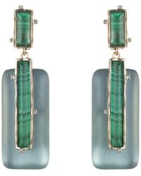 Alexis Bittar 10k Gold Plated Stone Retro Drop Clip-on Earrings - Multicolor
