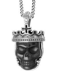 King Baby Studio - Sterling Silver Crowned Black Agate Skull Pendant Necklace - Lyst