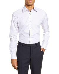 David Donahue Slim Fit Windowpane Dress Shirt - White