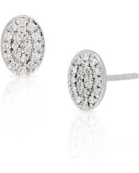 Bony Levy - 18k White Gold Pave Diamond Oval Stud Earrings - 0.15 Ctw - Lyst