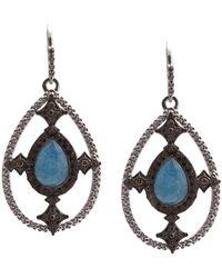 Armenta - New World Blackened Sterling Silver Faceted Blue Quartz, Labradorite, & White Quartz Triplet Pave Diamond Teardrop Earrings - Lyst