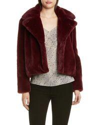 FRAME Short Faux Fur Coat - Multicolor