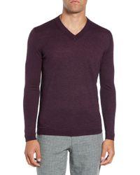 Ted Baker Noel Slim Fit V-neck Sweater - Purple