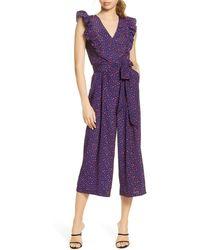 Chelsea28 Ruffle Crop Jumpsuit - Purple