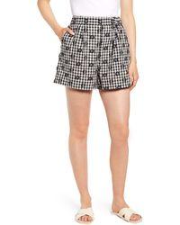 Lou & Grey Floral Gingham Shorts - Black