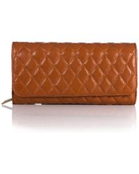 Zenith Quilted Leather Clutch - Brown