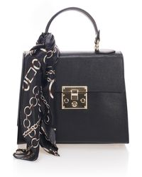 Giorgio Costa Top Handle Leather Satchel With Scarf - Black