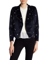 Rebecca Minkoff - Wes Studded Velour Moto Jacket - Lyst