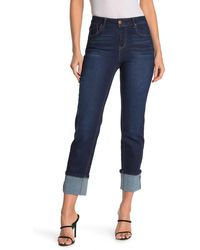 1822 Denim Cuffed High Waisted Straight Ankle Jeans - Blue