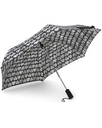 Betsey Johnson Leopard Patterned Auto Open & Close Umbrella - Gray