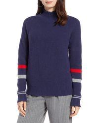 Halogen - Stripe Sleeve Frayed Edge Sweater (petite) - Lyst