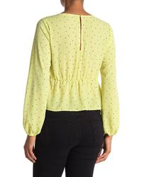 Lush V-neck Long Sleeve Blouse - Yellow