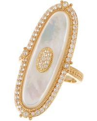Judith Ripka - 14k Gold Plated Sterling Silver Westport Eloganted Oval Stone Ring - Lyst