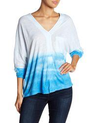 Go Couture Drop Shoulder Cloud Print Blouse - Blue