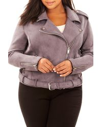 REBEL WILSON X ANGELS Bonded Faux Suede Moto Jacket (plus Size) - Multicolor