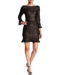 ABS By Allen Schwartz Metallic Houndstooth Boucle Dress - Black