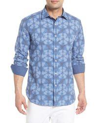 Bugatchi Abstract Check Print Trim Fit Shirt - Blue