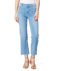 PAIGE Atley High Waist Distressed Ankle Crop Flared Jeans - Blue