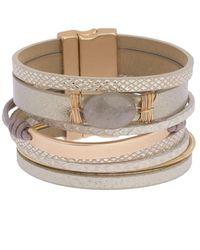 Saachi Refined Stone Pendant Multi-strand Bracelet - Metallic