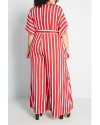 ModCloth Stripe Print Jumpsuit - Red