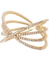 EF Collection - 14k Gold Pave Diamond Sunburst Ring - Size 6 - 0.30 Ctw - Lyst