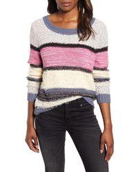 Caslon Caslon V-back Stripe Sweater - Pink