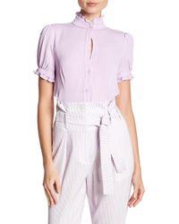ABS By Allen Schwartz Short Sleeve Ruffled Blouse - Pink