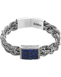Effy Sterling Silver & 18k Yellow Gold Pave Sapphire Braided Bracelet - Blue