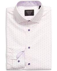 Nordstrom Nordstrom Trim Fit Leaf Print Non-iron Dress Shirt - Purple