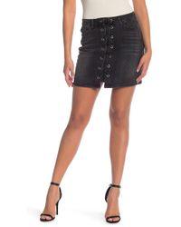 Kensie - Lace Up Denim Mini Skirt - Lyst