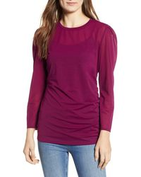 Hinge Ruched Long Sleeve Top - Purple