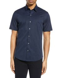Zachary Prell Perbellini Classic Fit Geo Short Sleeve Stretch Button-up Shirt - Blue