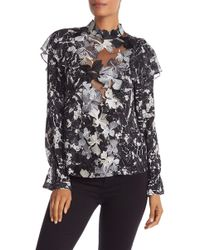 Chelsea and Walker - Floral Embroidered Mock Neck Combo Silk Top - Lyst
