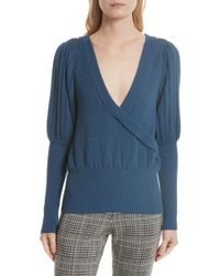 Tracy Reese Pointelle Knit Surplice Sweater - Blue