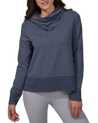 90 Degrees Terry Brushed Long Sleeve Cropped Cow Neck Top - Blue