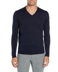 Ted Baker V Neck Wool Sweater - Blue