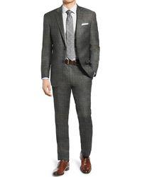 Hart Schaffner Marx Gray Sharkskin Two Button Notch Lapel New York Fit Suit