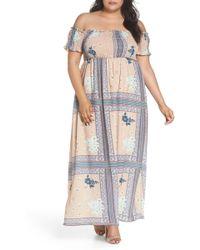 Glamorous - Patchwork Print Off The Shoulder Maxi Dress (plus Size) - Lyst