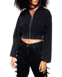 TOPSHOP Crop Denim Track Jacket - Black