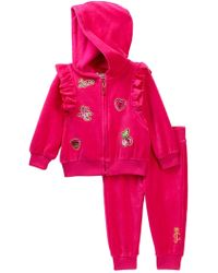 Juicy Couture Pink Velour Jog Set With Patch Detail (baby Girls 12-24m)