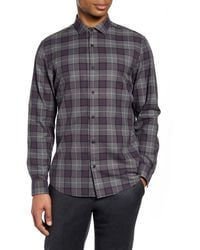 Calibrate Slim Fit Plaid Button-up Shirt - Gray
