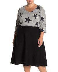 Premise Studio V-neck Star Print High/low Knit Sweater - Multicolor