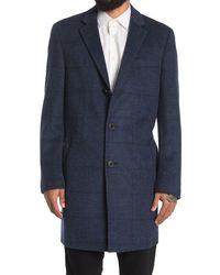 Hart Schaffner Marx Dobson Tonal Plaid Wool Blend Coat - Blue