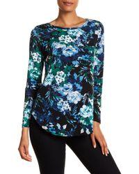 Karen Kane - Floral Printed Long Sleeve Blouse - Lyst