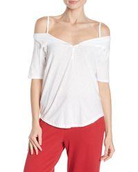 Nation Ltd Harlow Cold Shoulder T-shirt - White