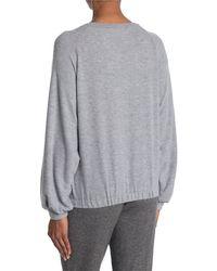 Lush Elastic Hem Raglan Sleeve Pullover - Gray