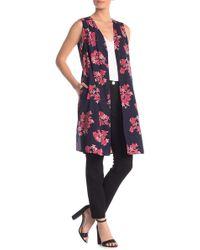 Pleione Floral Open Duster Vest - Multicolor