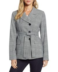 73e7bf6d7ff10 Lyst - Tommy Hilfiger Jaime Double Breasted Long Blazer in Gray